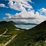 St. Kitts, az Atlani-ócean és a Karib-tenger metszik egymást